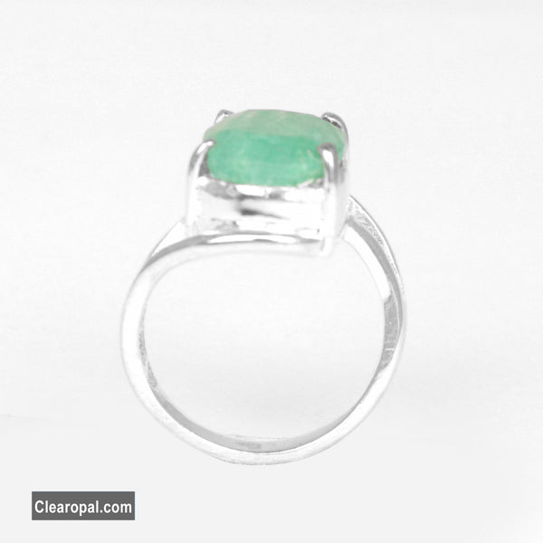 Natural Green Emerald Stone Ring // Oval Shape Emerald Silver Ring // 925 Sterling Silver // Size-7 and Can be Resized