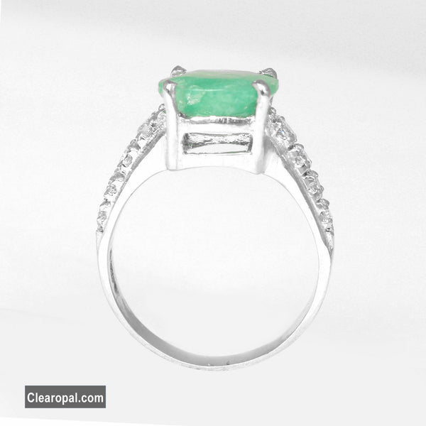10 to 20 Carat Solid Sterling Silver Emerald Ring, Natural Green Emerald Cushion Cut Gemstone Ring, May Birthstone Ring