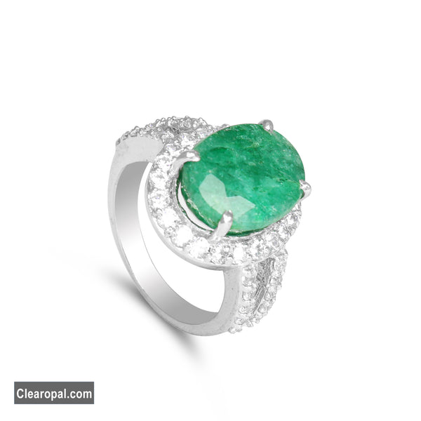 Natural Emerald Ring, 925 Sterling Silver Oval Cut Green Emerald Ring Jewelry, 5ct To 10ct