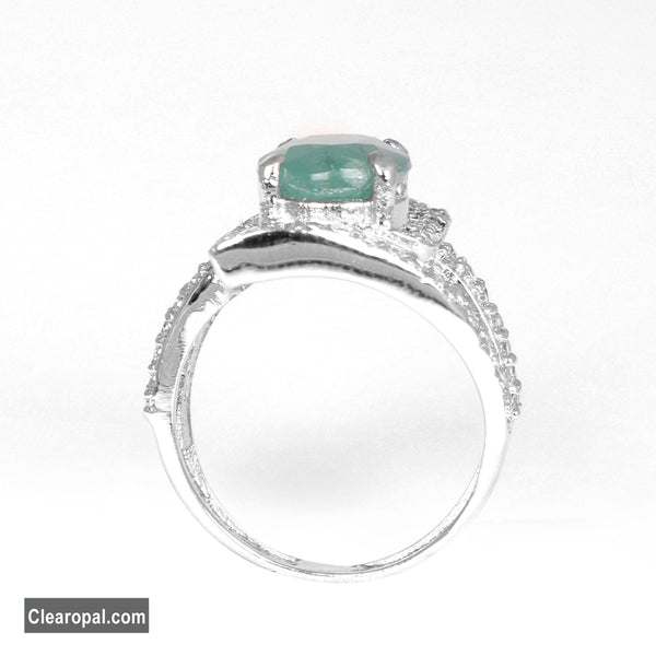 Natural Green Emerald Ring - May Birthstone Ring - 925 Sterling Silver Oval Cut Emerald Gem Ring- Available 8 To 15 Carat