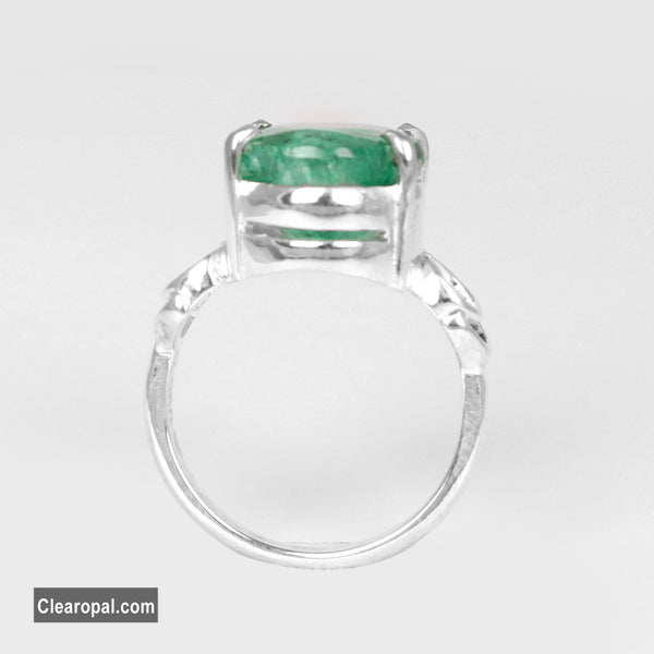 Oval Shape Natural Green Emerald Ring, Sterling Silver 5ct To 10ct Engagement Ring Promise Ring Anniversary Ring