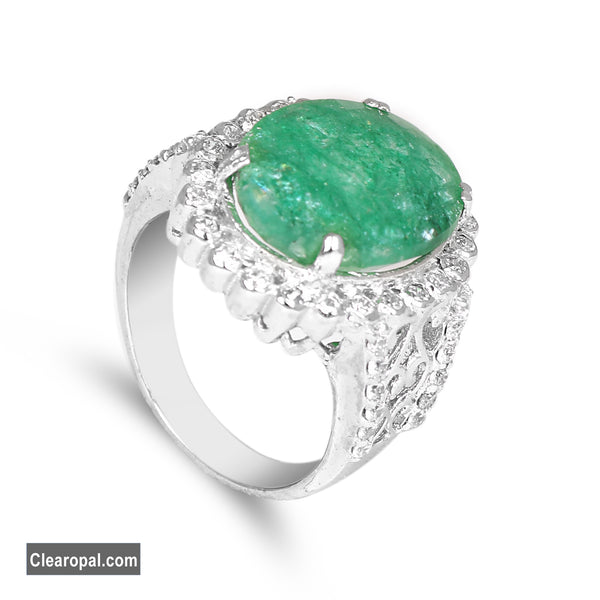 925 Sterling Silver Green Emerald Ring Jewelry, Brazilian Natural Oval Cut (10ct To 15ct) May Birthstone Jewelry for Women