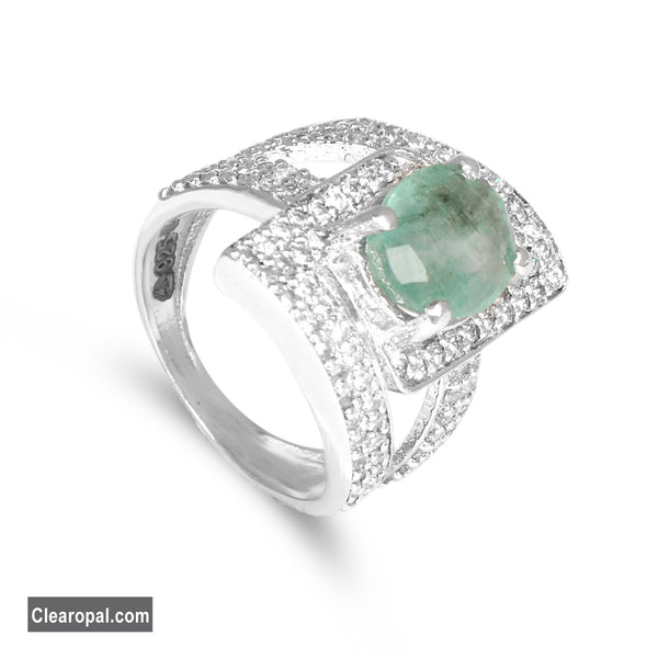 15Ct To 25Ct Unique Natural Green Emerald Ring, One of a Kind Genuine Oval Cut Emerald Ring for Women,