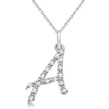 925 Sterling Silver CZ initial Charm Alphabet Pendant, 0.75 to 1 Inch Letter A Pendant Available in Other Letters