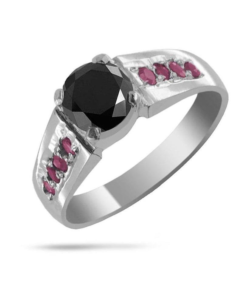 3.00 to 5.50 Carats Certified Round Brilliant Cut Black Diamond Solitaire in Sterling Silver, Engagement Ring, Wedding Ring