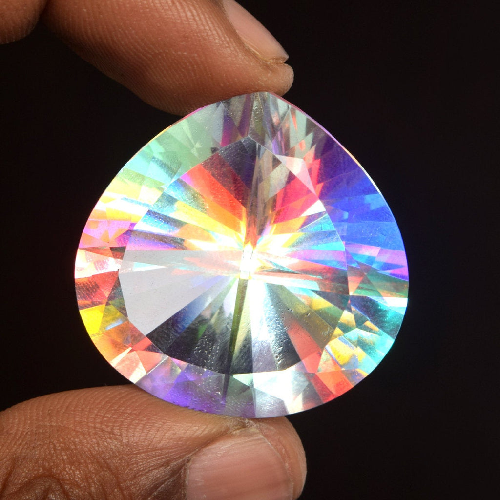 74.00 Ct Pear Shaped Mystic Fire Topaz Loose Gemstone For Jewelry making EH-887