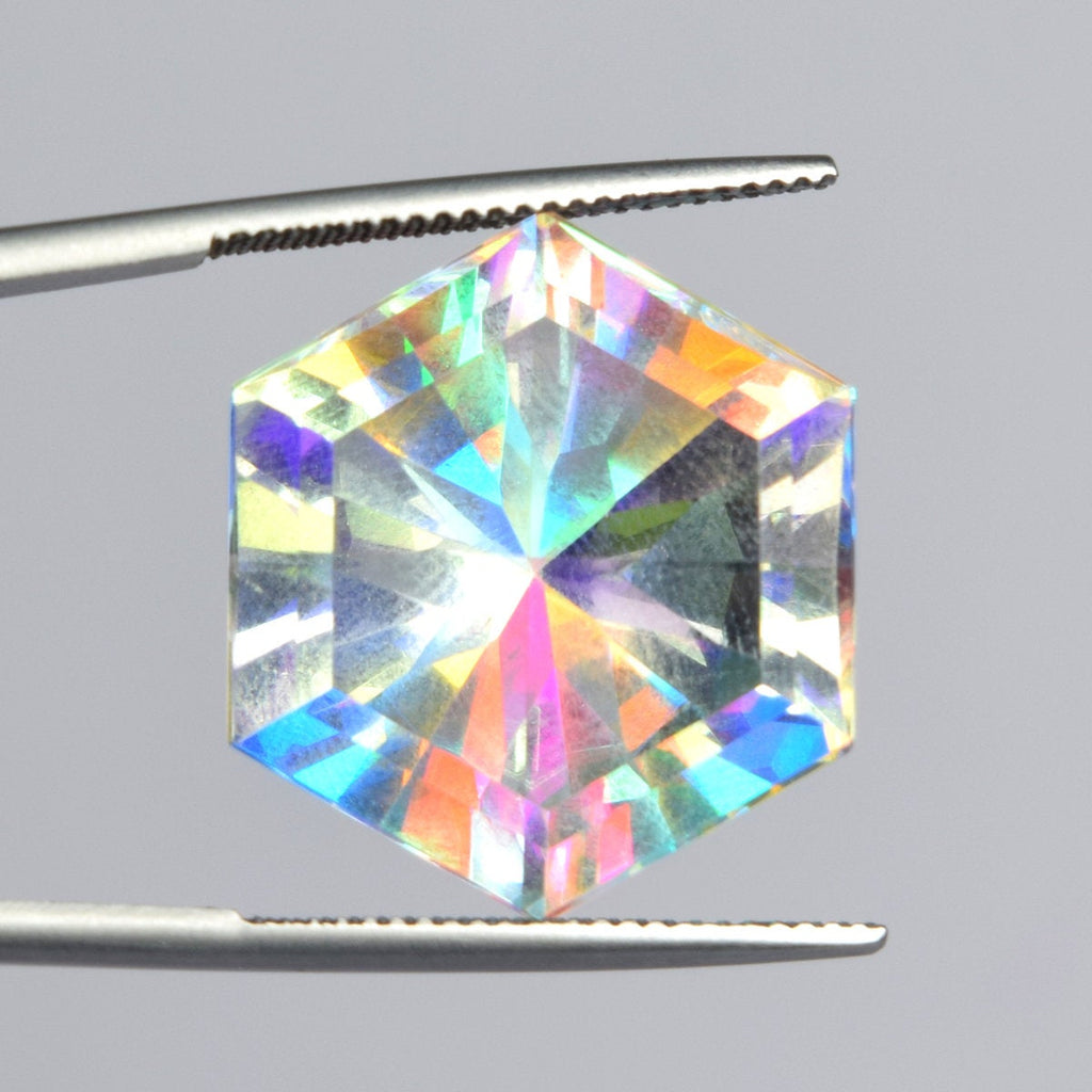 White Mystic Topaz 26.00 Ct/21 mm Ring Size Hexagon Shape Gemstone EH-856