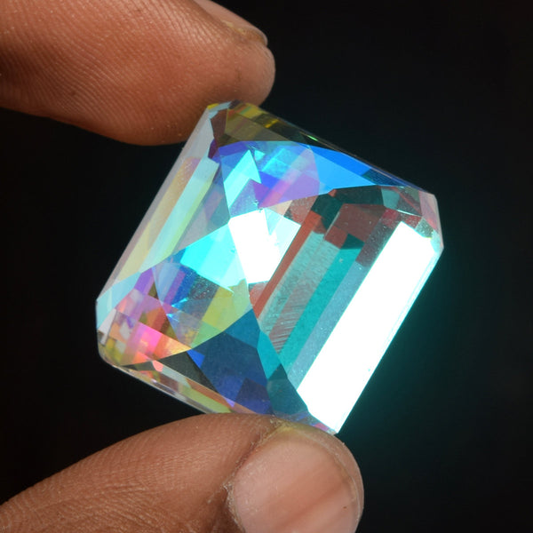 Flawless Mystic Topaz White Fire Stone 63.00 Ct Brilliant Emerald Cut White Fire Mystic Topaz Loose Gemstone For Jewelry EI-023