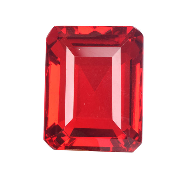 Red Topaz Gemstone Faceted Emerald Shape Red Loose Cut Gemstone 32 x 25 x 16 mm 125.30 Carat Red Color Topaz Loose Topaz Gemstone, B-5982