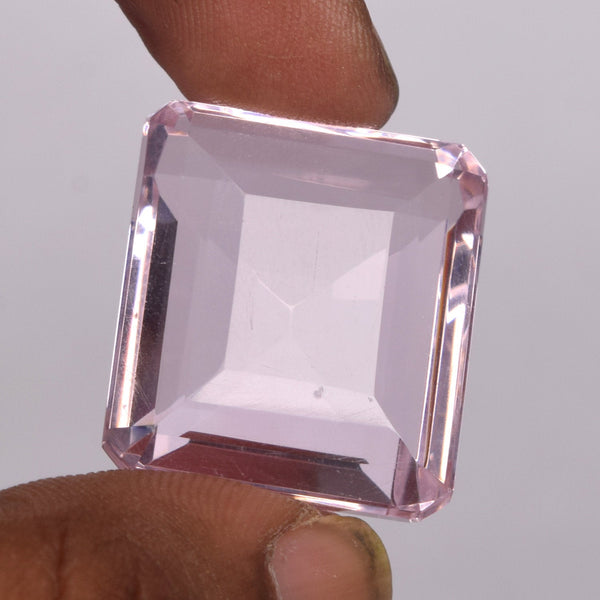 Faceted Topaz Loose Gemstone for Making Jewelry and Pendant, 103.50 Ct. Lab Created Loose Emerald Cut Pink Color Topaz Loose Gemstone BU-936