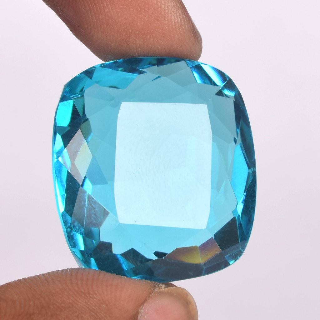 Swiss Blue Topaz Loose gemstone 1 Piece faceted Cushion Cut Topaz gemstone, 98.50 Ct Lab Created Loose Topaz Gemstone For Jewelry, BV-303