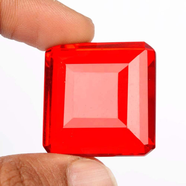 91.40 Cts Red Topaz Faceted Loose Gemstone, Square Shape Fabulous Quality 28 mm Red Lab Created Translucent Gemstone for Jewelry BS-274