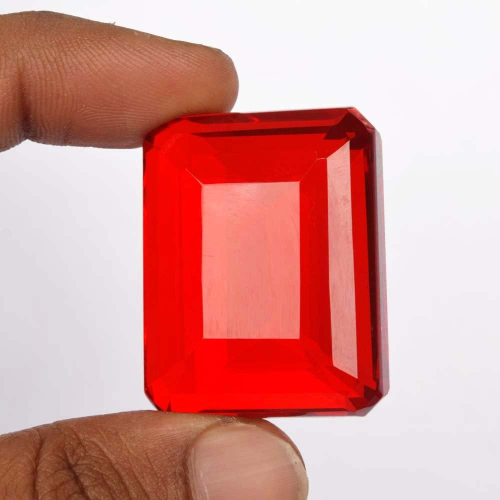 Jewelry Making Emerald-Cut Genuine Red Topaz Loose Gemstone, Faceted Red Color 87.35 Ct Red Topaz Gemstone for Wire Wrap & Other BS-276