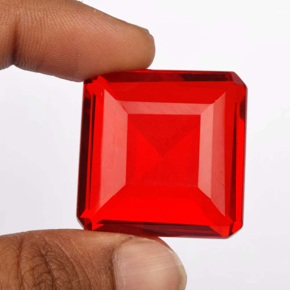 Beautiful Lab Made Red Topaz Gemstone, Square Shape 87.25 Ct/27 mm Red Topaz Loose Gemstone for jewelry, Pendant, Necklace & Other, B-5897