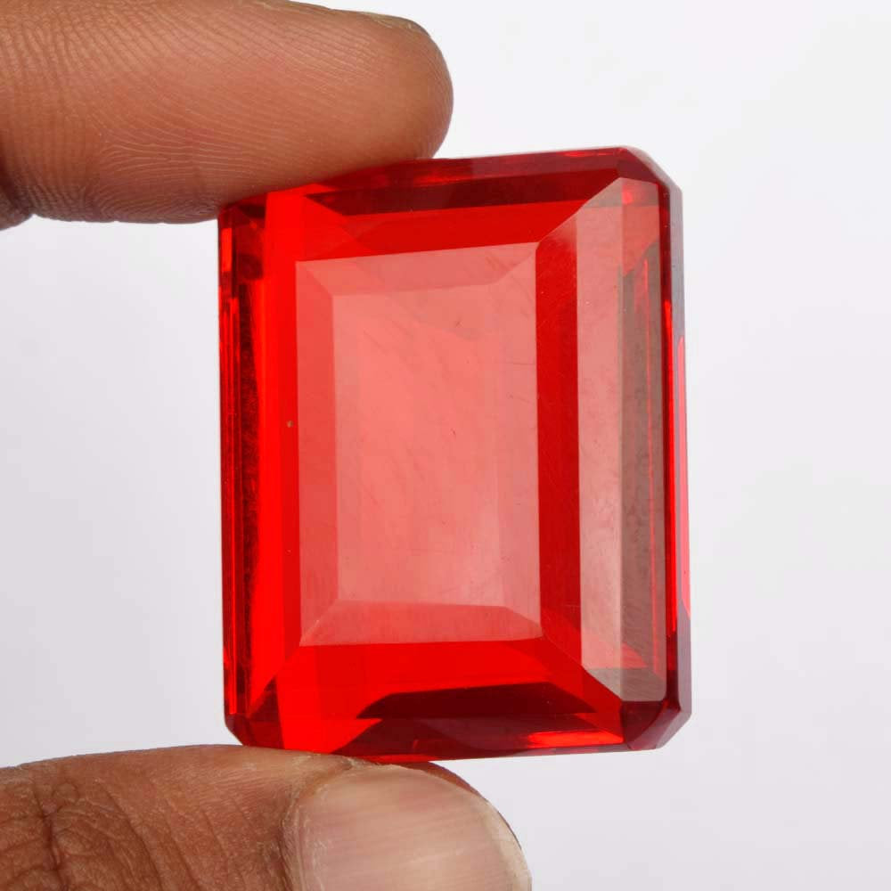 Topaz Loose Gemstone, Grade AA Lab Created Red Color Emerald Shape Faceted 108.85 Ct Topaz Loose Stone, Jewelry Making Topaz Gemstone BS-375