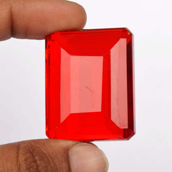 Brilliant Pendant Size 110 Ct Emerald Cut Shape Lab Created Topaz Gemstone, Faceted Translucent Red Topaz Loose Stone For Jewelry, AF-996