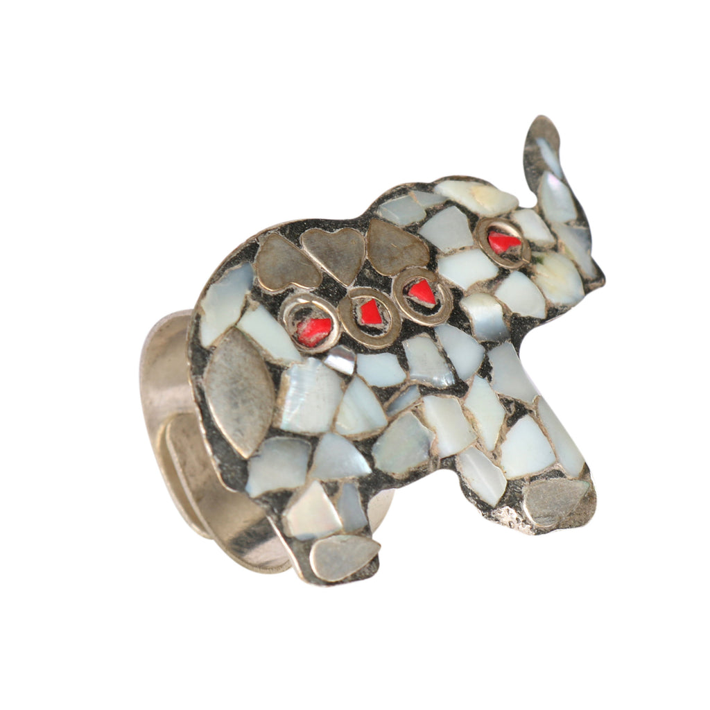 Ethnic Designer Silver Plated Meena Work & Moonstone Adjustable Ring, Good Luck Ring, Elephant Jewelry, Silver Elephant, Protective Jewelry