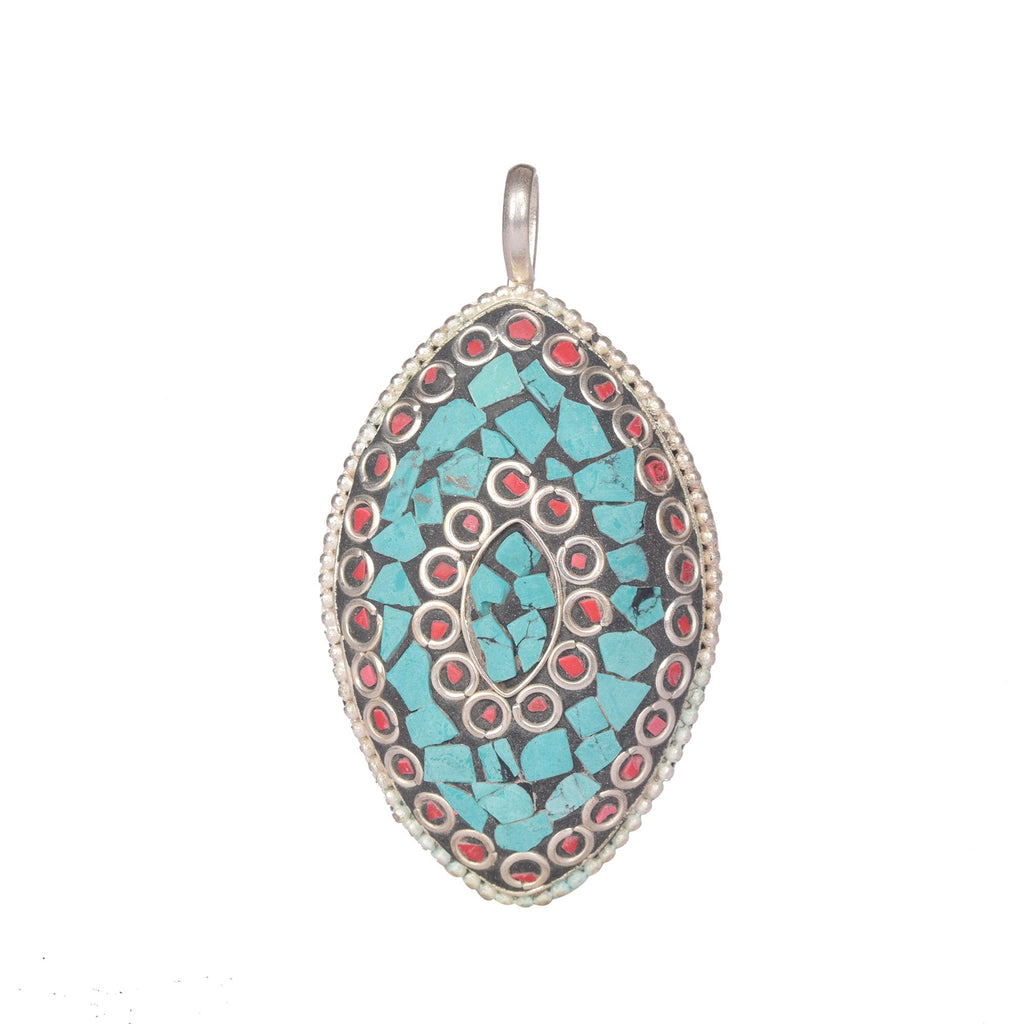 Turquoise and Meena Stone Pendant Marquise Shape Silver Plated Pendant with Hook, Turquoise Marquise Pendant - Sterling Silver Pendant