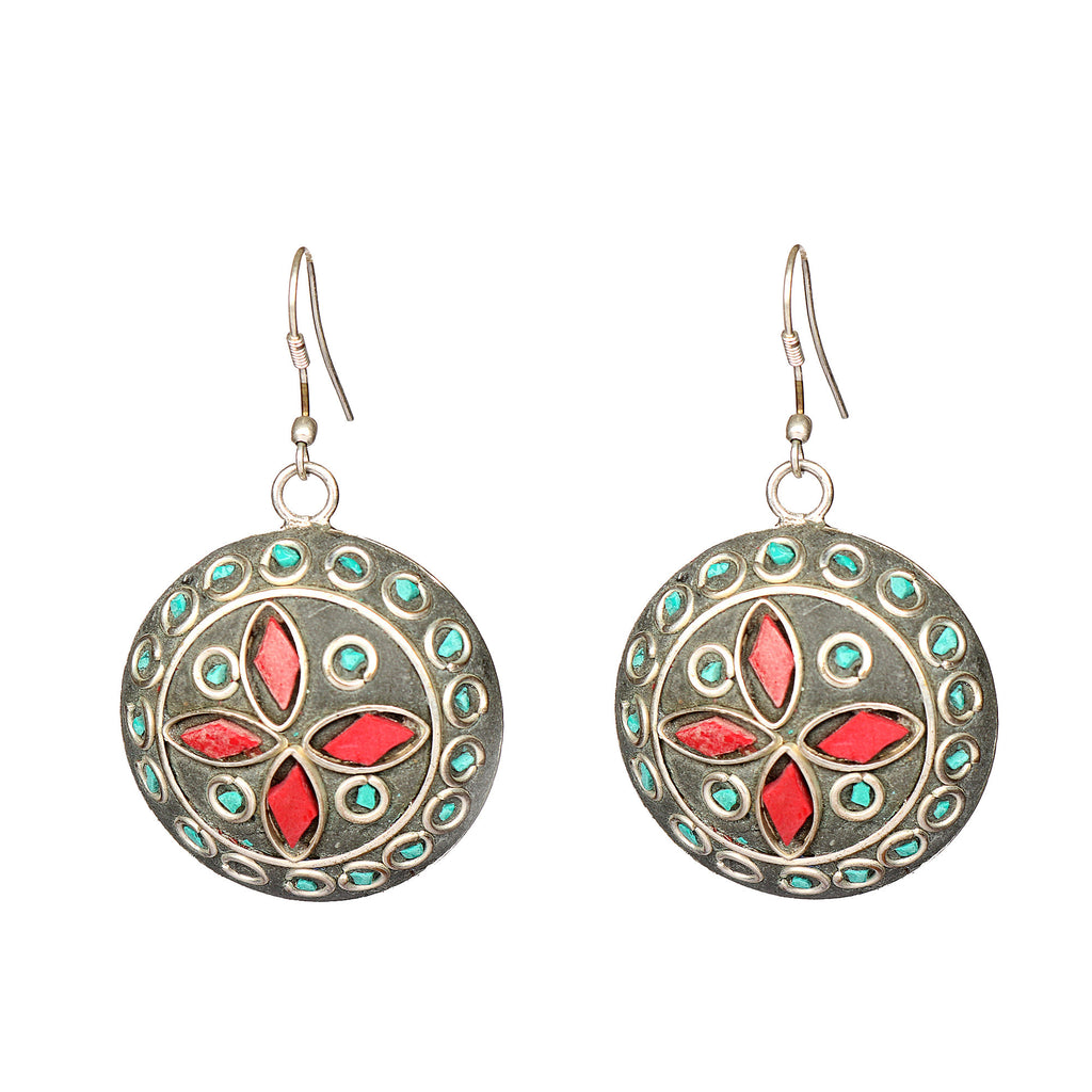 Silver Plated Meena Work & Blue Turquoise Stone Earrings for Women and Girls, silver jewelry earring, Designer silver Round shape Earring