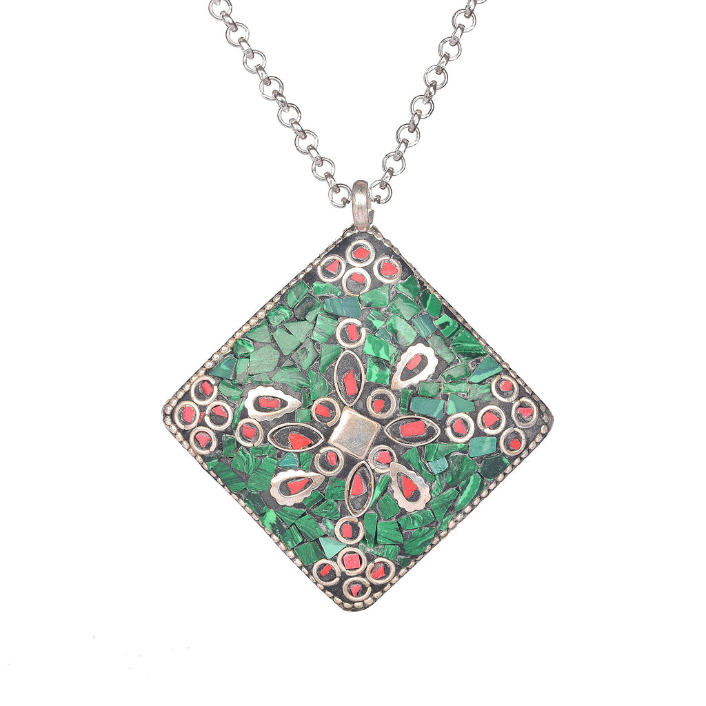 Emerald and Meena Stone Pendant Fancy Shape Silver Plated Pendant with Hook, Emerald Pendant, 925 solid silver pendant, Green stone pendant