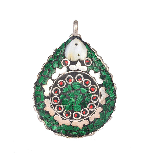 Emerald and Meena Stone Pendant Pear Shape Silver Plated Pendant with Hook, Emerald Pendant, 925 solid silver pendant, Green stone pendant