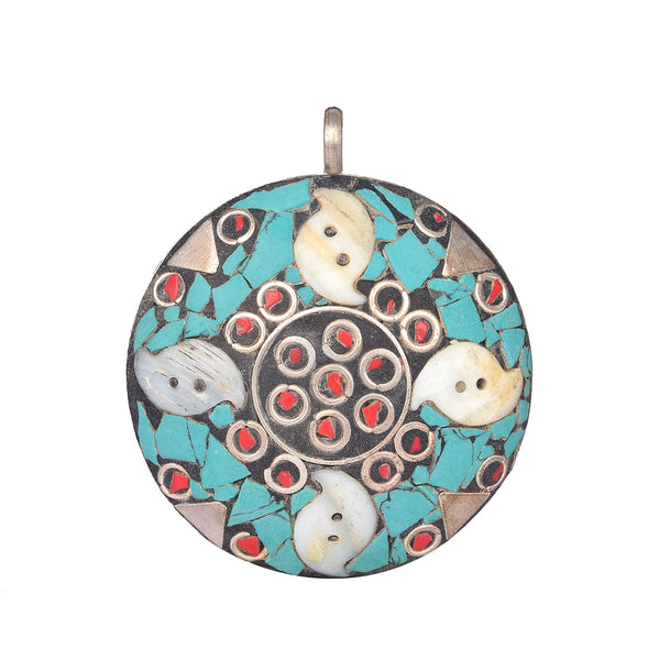 Turquoise and Meena Stone Pendant Round Shape Silver Plated Pendant with Hook, Turquoise Oval Pendant - Sterling Silver Pendant