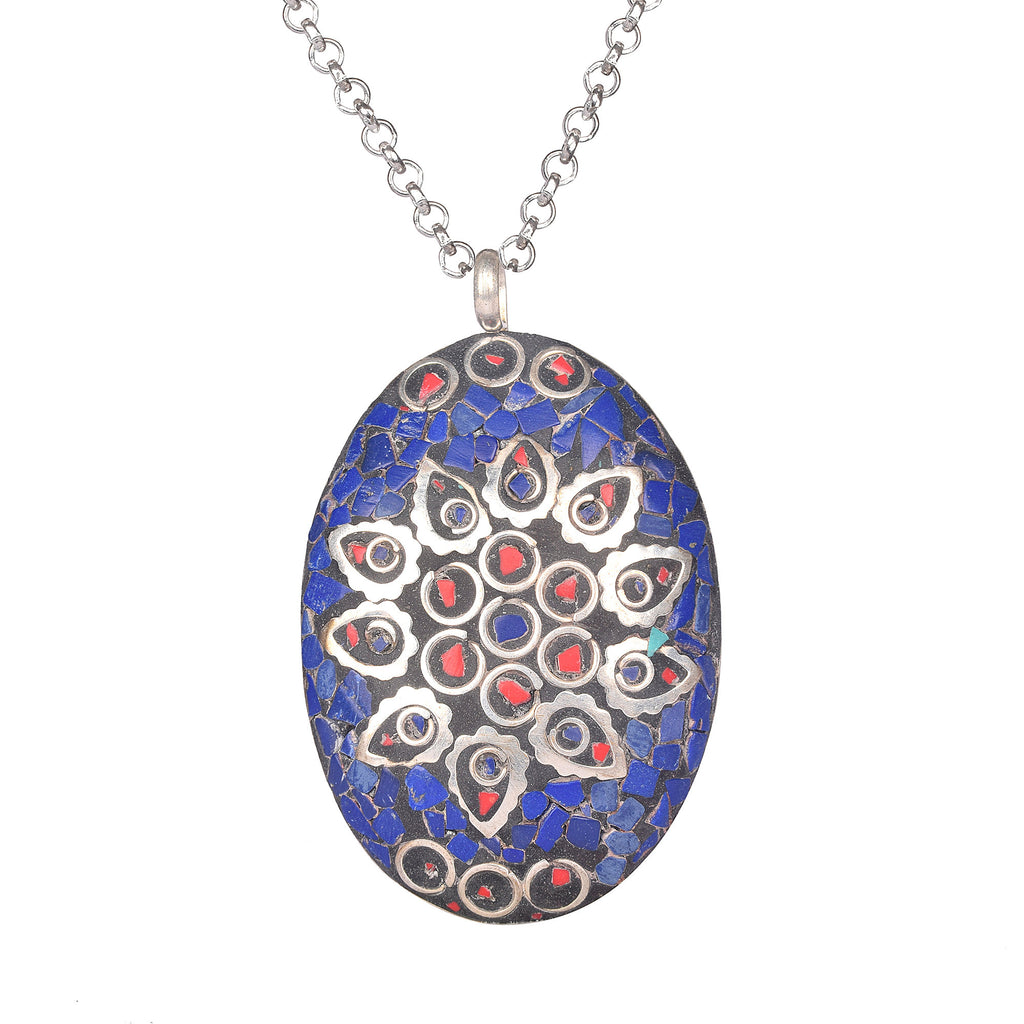 Blue Lapis Lazuli and Meena Stone Pendant Oval Shape Silver Plated Pendant with Hook for Women & Girls, September birthstone pendant