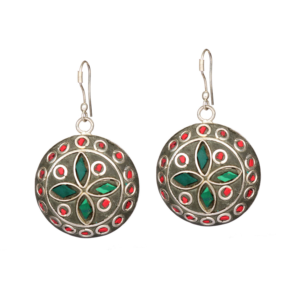 Silver Plated Meena Work & Green Emerald Stone Earrings, Top Quality silver jewelry earring, Gift for her, Designer Emerald jewelry