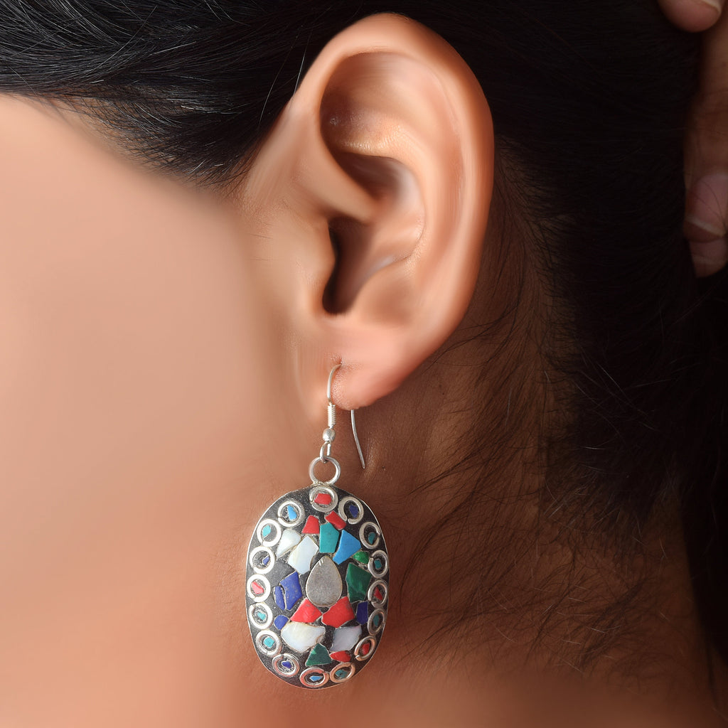 Traditional Silver Plated Meena Work, Lapis, Moonstone & Blue Tourquoise Stone Earrings, silver jewelry earring, Designer jewelry