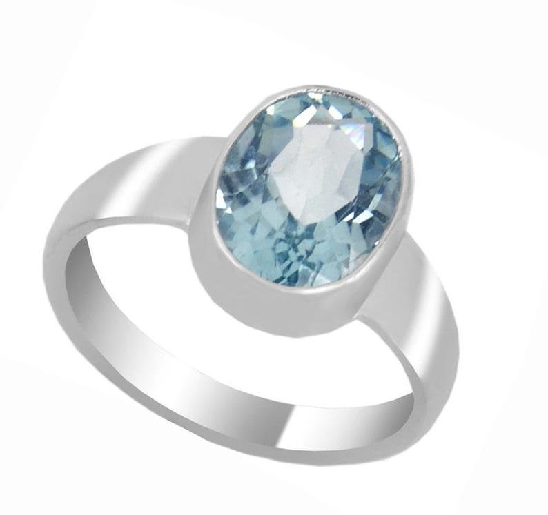 7 ct Natural Blue Topaz Gemstone Ring in Sterling Silver, Excellent Cut & Luster