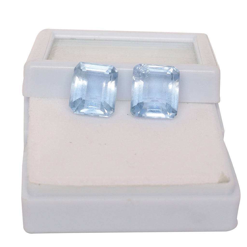 Approximately 20.5 Ct Blue Topaz Emerald Cut Gems Pair for Jewelry, AAA Quality Blue Topaz  Lab Created Gemstone for Making Jewelry, LN-143