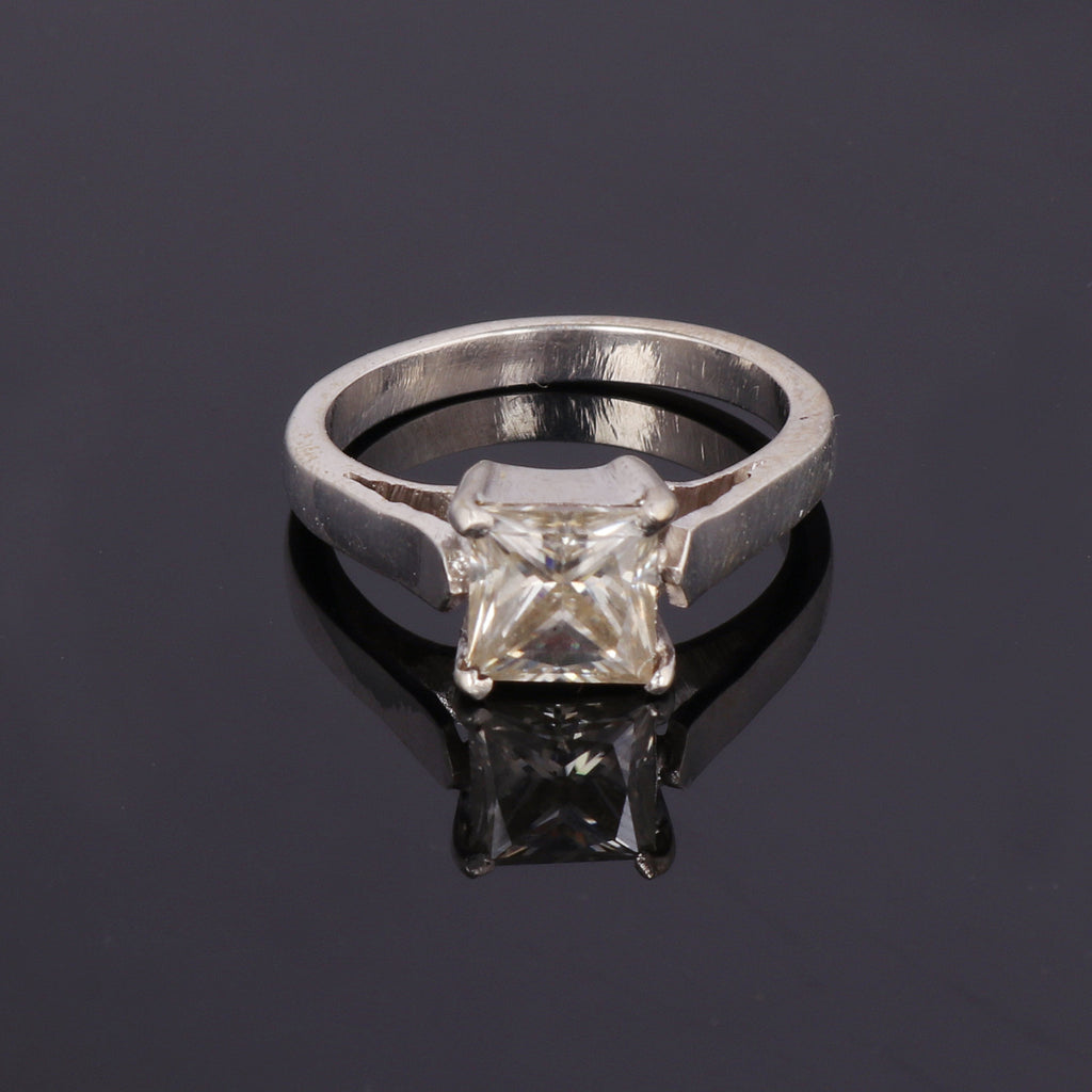 White Moissanite Dimaond Princess Cut 1-2.00 Ct. Solitaire Ring For Women-925 Sterling Silver Wedding Ring-Engagement Solitaire Ring