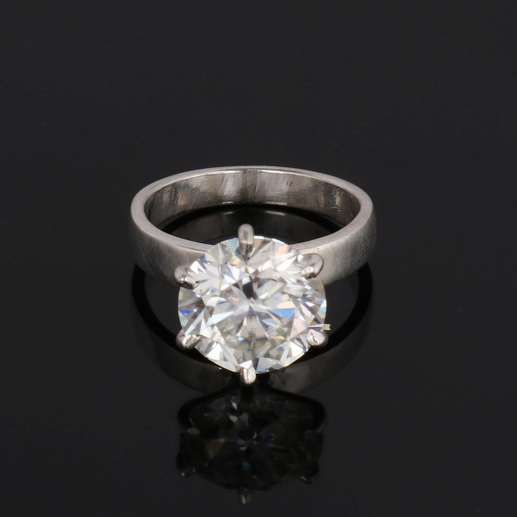 Gorgeous White Moissanite Ring Round Brilliant Cut Diamond 3-6 Ct. Solitaire With Sterling Silver Engagement Anniversary Ring, Birthday Gift