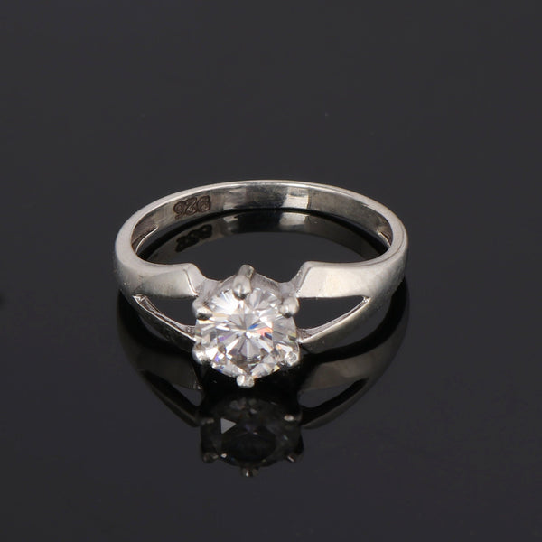 White Moissanite Round Brilliant Cut Diamond 0.90-1.50 Ct. Solitaire With Sterling Silver Engagement Anniversary Ring, Birthday Gift