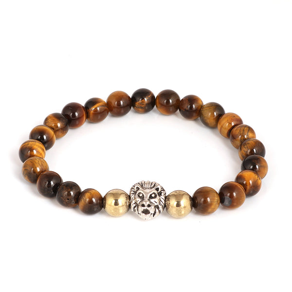 Natural Tiger Eye Bracelet, Lion Bracelet, Yellow Tiger Eye 7-8 mm Gemstone Beads, Tiger Eye Gemstone Bracelet, Lion Head Bracelet, Gift