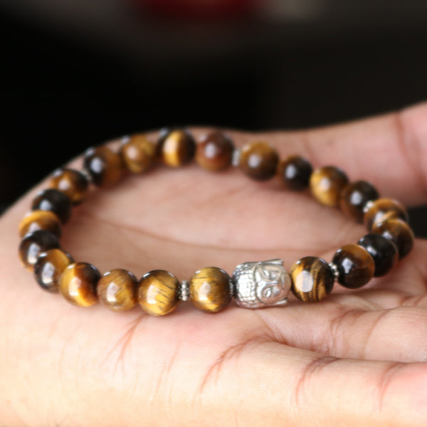 Buddha Bracelet Tiger's Eye Gold Buddha Bracelet, Meditation Bracelet, Yoga Bracelet, Lucky Buddha, Good Luck Buddha Men Women Bracelet