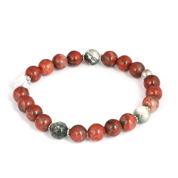 Natural Red Jasper Beads Bracelet 7-8 mm, Tree Agate Beads Bracelet, Mix Gemstones Beads Bracelet Stretch Bracelet For Birthday Gift