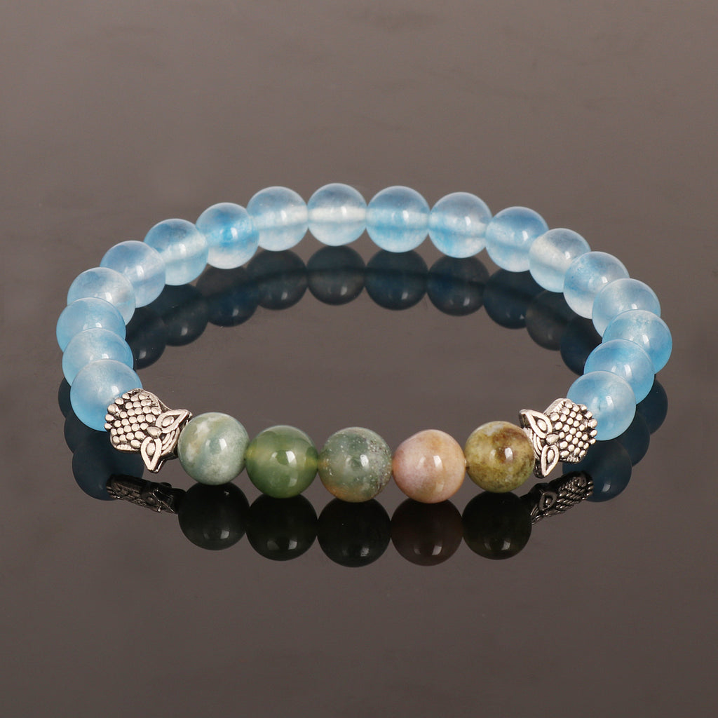 New! Natural Blue Jade Beads Bracelet, Green Agate Bracelet With Oxidized Owl Charm Bracelet, Beaded Stretch Bracelet, 7-8 mm Beads Bracelet