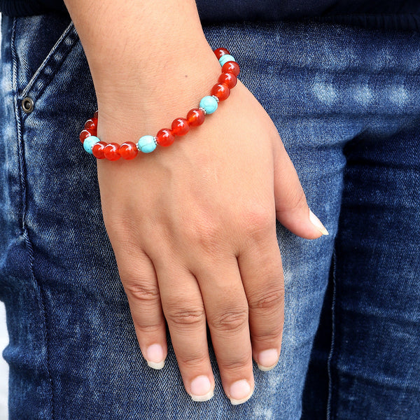 Natural Orange Carnelian Beads Bracelet, Blue Turquoise Beads Bracelet, Beaded Stretch Bracelet, 7-8 mm Beads Bracelet, Healing Stone