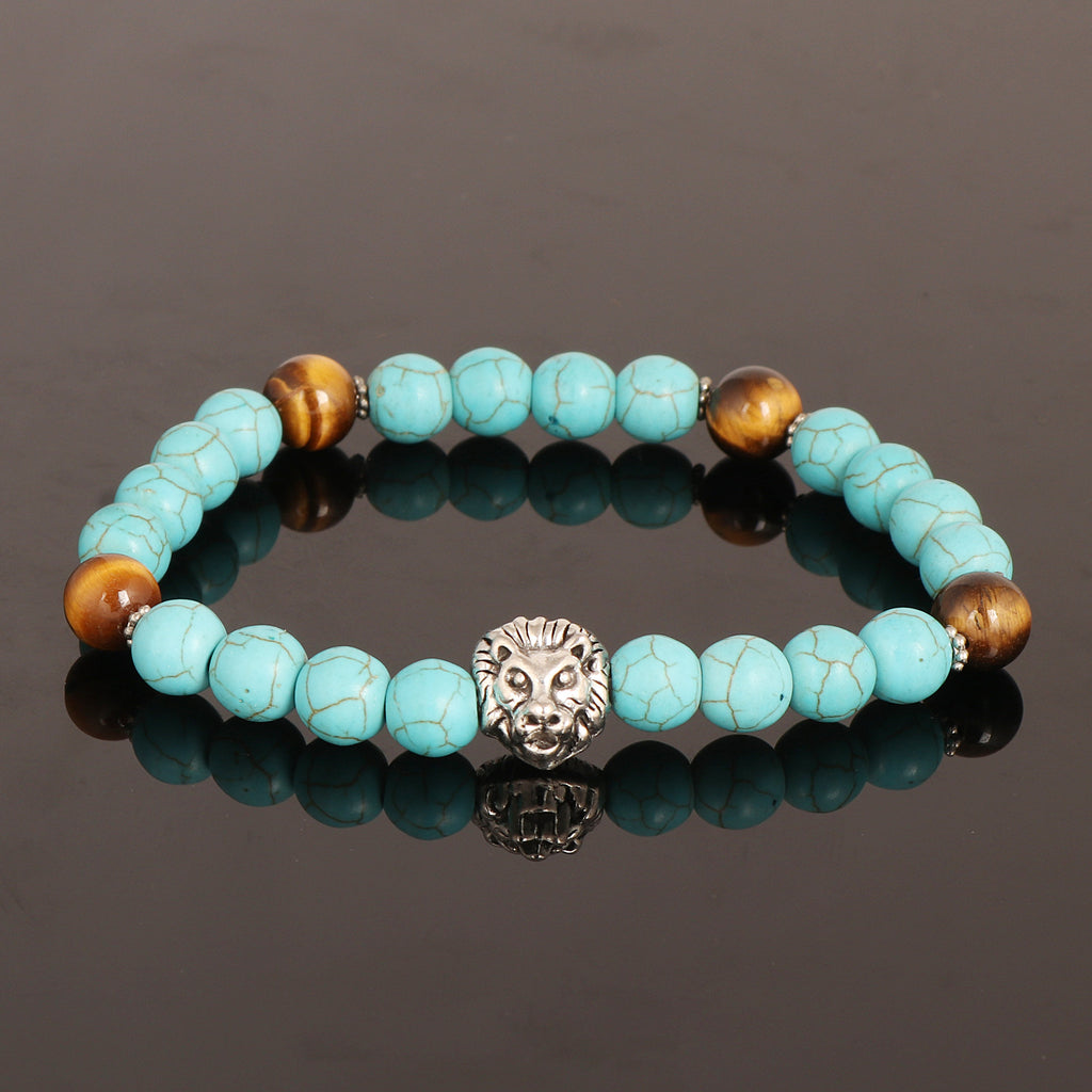 Natural Turquoise Beads Bracelet, Tiger Eye Beads Bracelet, Oxidized Silver Lion Charm, 7-8 mm Beads, Healing Stone, For Men Or Women