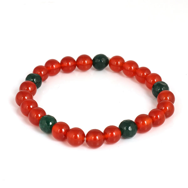 Natural Serpentine Beads Bracelet, Orange Carnelian Stone Beads Bracelet, Stretch Bracelet 7-8 mm Beads, Healing Stone, For Men Or Women