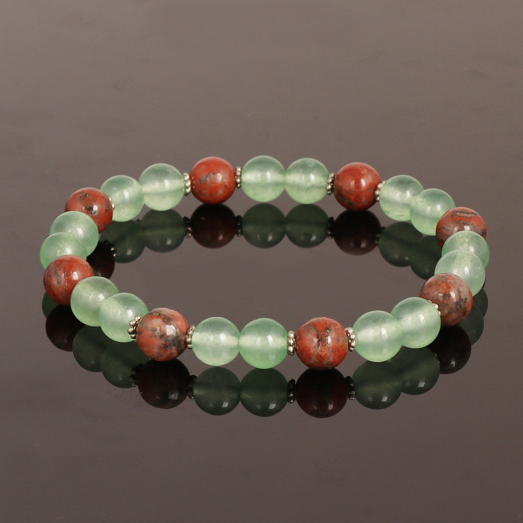 Natural Green Fluorite Beads Bracelet, Agate Beads Bracelet, Stretch Bracelet, 7-8 mm Beads, Chakra Healing Stone For Men Or Women Gift