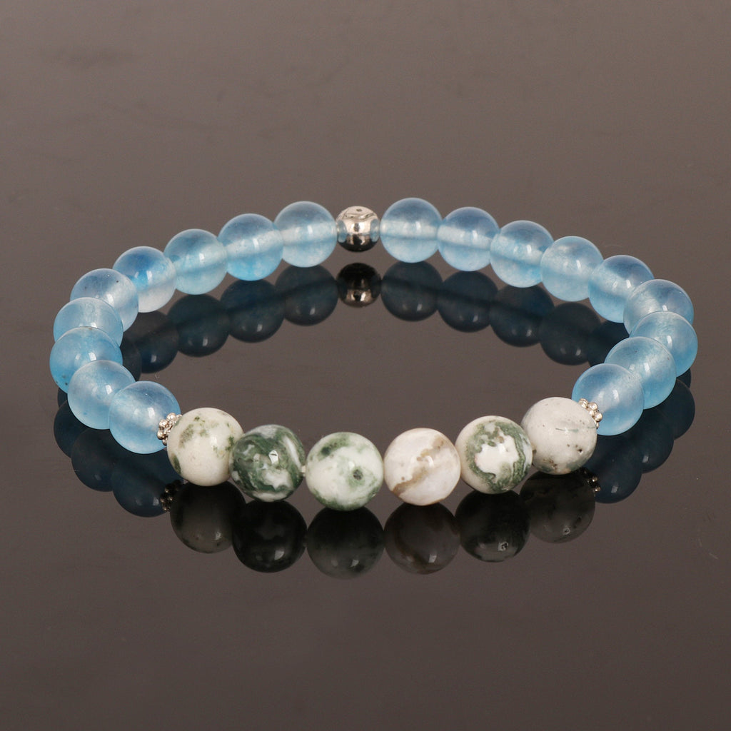 Natural Blue Onyx Stone Beads Bracelet, Green Agate Stone Beads Bracelet, Stretch Band Bracelet, 7-8 mm Gemstone Beads, Chakra Healing