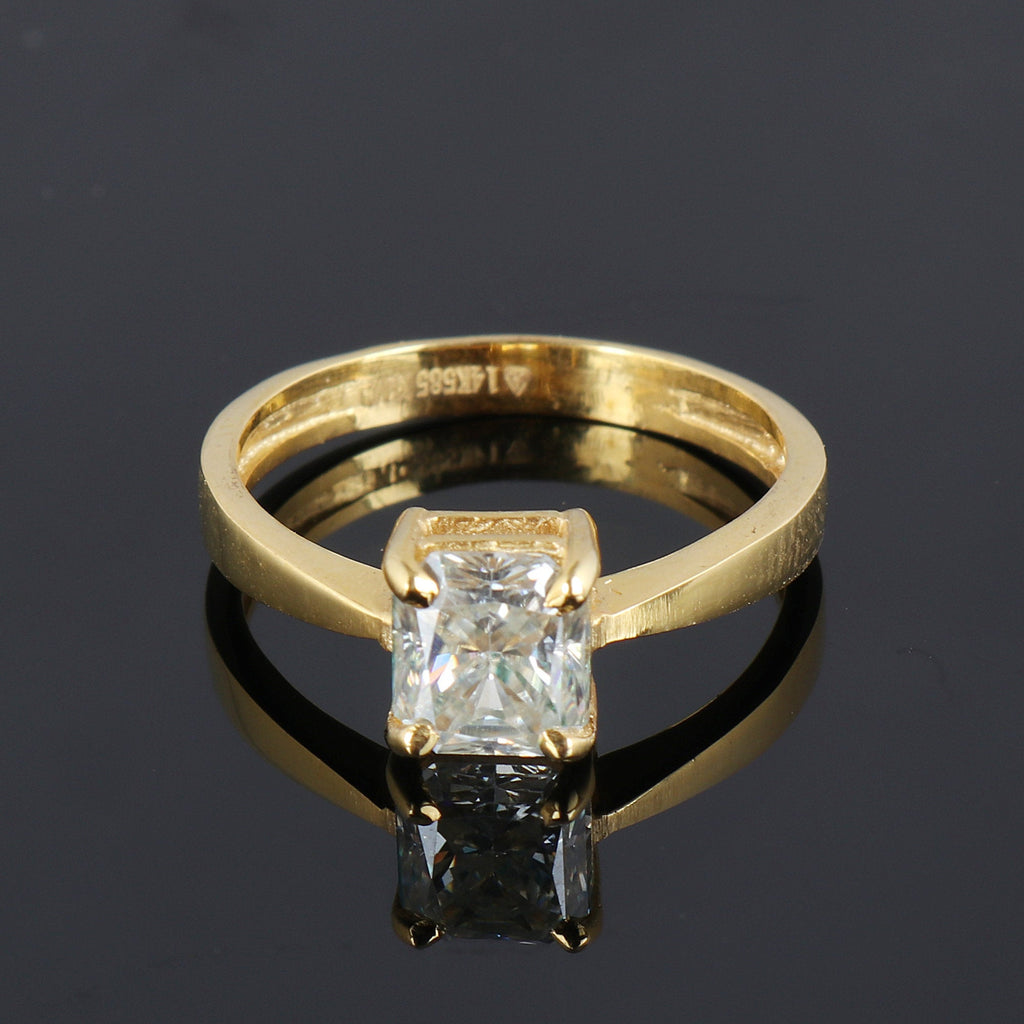 1.0 Ct. Beautiful White Moissanite Diamond Ring, 18k Gold Ring, Brilliant Princess Cut White Moissanite, Anniversary Ring, Video Uploaded