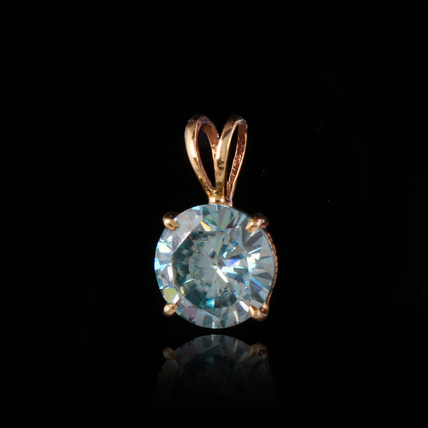 14k Yellow Gold 3.50 Ct. Blue Moissanite Pendant, Moissanite Diamond Pendant, Round Moissanite Pendant, Wedding Gift, Video Uploaded