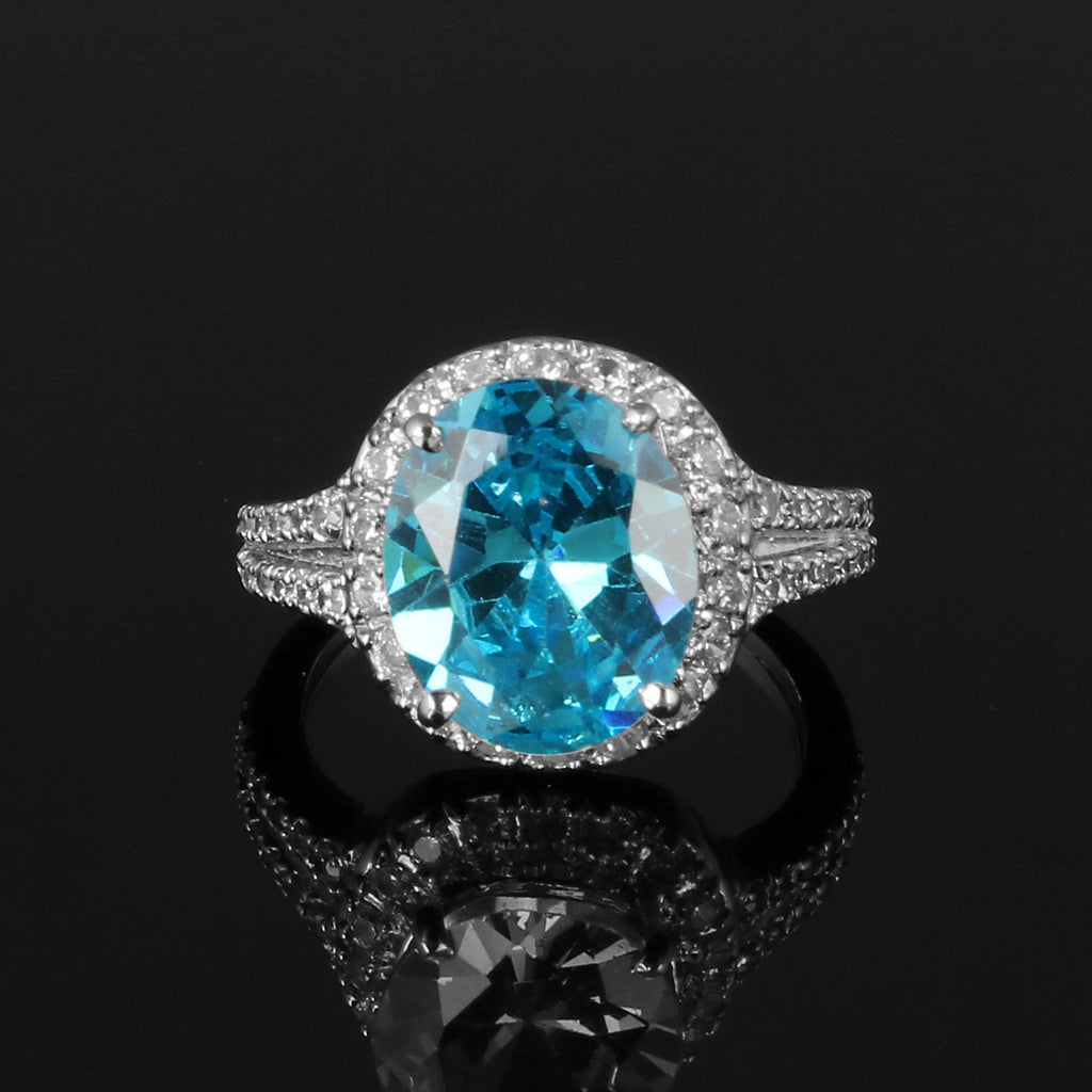 Swiss Blue Topaz Oval Shape Gemstone & White Accent Stone, 925 Sterling Silver Ring, Engagement Ring, Video Uploaded