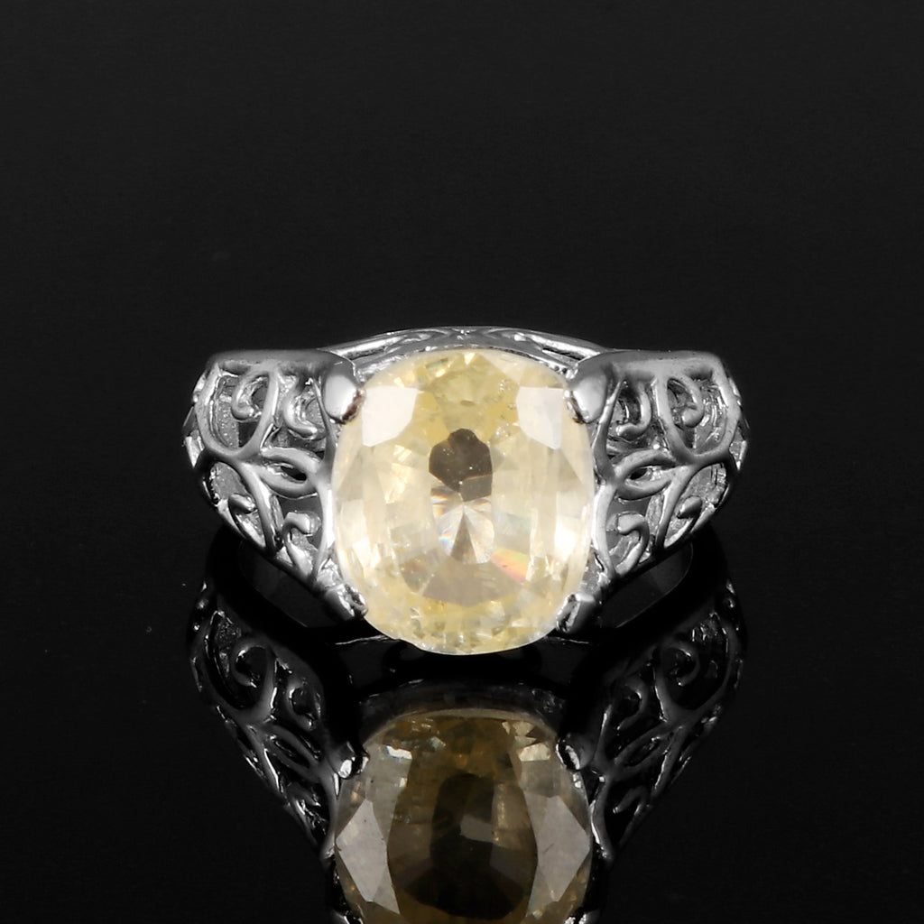 Cushion Cut Yellow Topaz Gemstone 925 Sterling Silver Ring, Engagement Ring, Video Uploaded