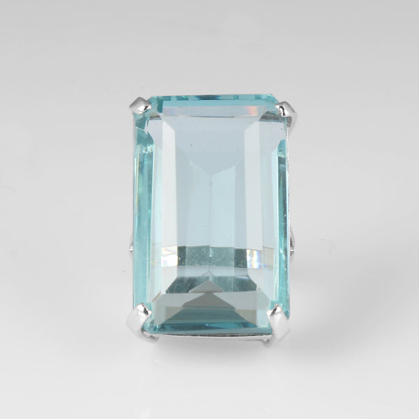 Emerald Cut Big Size Blue Aquamarine Ring, Party Wear Ring, 925 Sterling Silver Ring, Video Uploaded