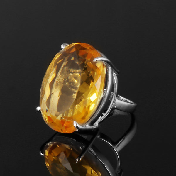Oval Cut Big Size Yellow Citrine Ring, Party Wear Ring, 925 Sterling Silver Ring, Video Uploaded