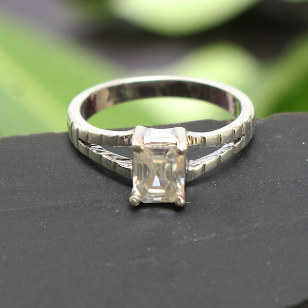 White Moissanite Dimaond Emerald Cut Ring 0.90-1.50 TCW Solitaire Ring For Women-925 Sterling Silver Wedding Ring-Engagement Solitaire Ring